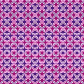 Geometric floral, pink and purple