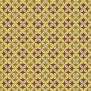 Geometric floral, gold and brown