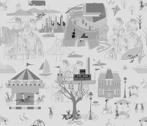 Gray Toile (1) fabric by chickoteria on Spoonflower - custom fabric