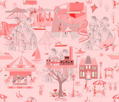 Pink Toile (5) fabric by chickoteria on Spoonflower - custom fabric