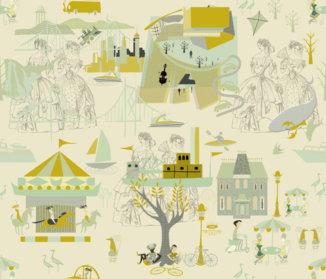 Green Gold Toile (6) fabric by chickoteria on Spoonflower - custom fabric