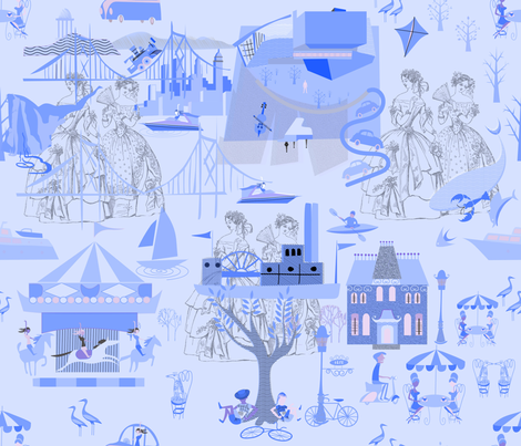 Blue Toile (7) fabric by chickoteria on Spoonflower - custom fabric