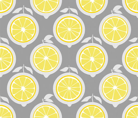 Julie's Yellow Lemon Grid M fabric by juliesfabrics on Spoonflower - custom fabric