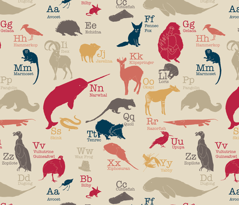 Obscure Animals Alphabet (Large) fabric by maile on Spoonflower - custom fabric