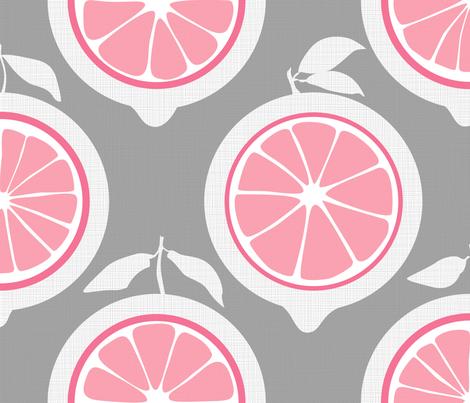 Julie's Pink Lemon Grid XL fabric by juliesfabrics on Spoonflower - custom fabric
