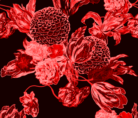 mid century modern floral ~ black and crimson fabric by peacoquettedesigns on Spoonflower - custom fabric