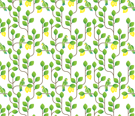 A parakeet in the lemon tree fabric by ebygomm on Spoonflower - custom fabric