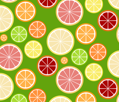 citrus slices - on green fabric by victorialasher on Spoonflower - custom fabric