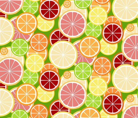 citrus slice buffet - on green fabric by victorialasher on Spoonflower - custom fabric