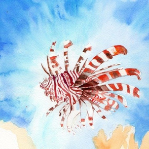 Lionfish- work in progress, sized for basic combed cotton