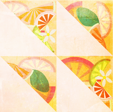 Citrus & Blooms - Triangles fabric by owlandchickadee on Spoonflower - custom fabric