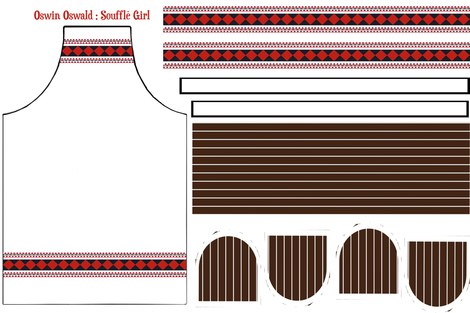 Oswin Oswald: Soufflé Girl UPDATED Apron & Dual hotpad set fabric by jennofalltrades on Spoonflower - custom fabric