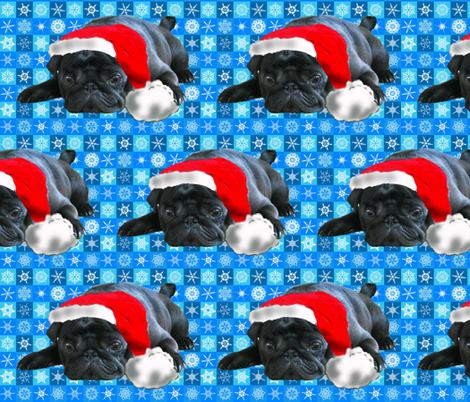 Black Pug in Santa Hat fabric fabric by dogdaze_ on Spoonflower - custom fabric