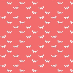 Tangram fox - random - white on dark coral