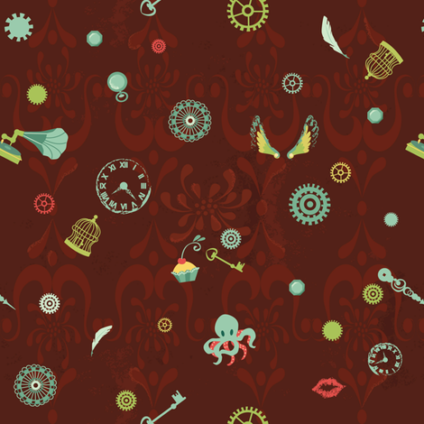 steampunk-glam fabric by elodie-lauret on Spoonflower - custom fabric