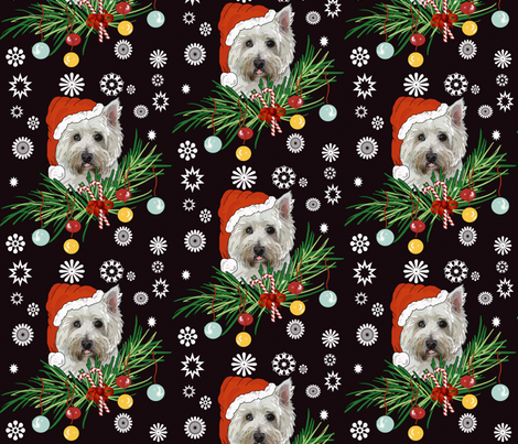 West Highland White Christmas fabric by dogdaze_ on Spoonflower - custom fabric