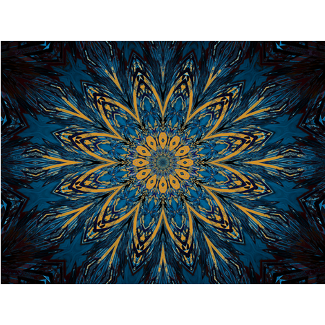 Kaleidescope 0824 k2 retrodark teal blue and yellow