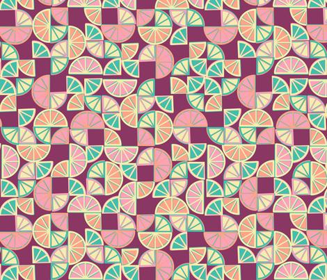 geo citrus - red grapefruit colorway fabric by ravynka on Spoonflower - custom fabric