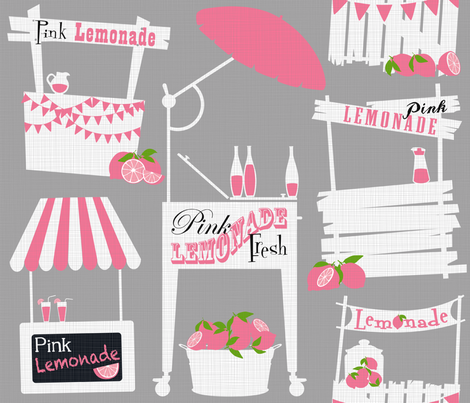 Julie's Pink Lemonade Stand fabric by juliesfabrics on Spoonflower - custom fabric
