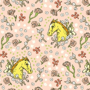 Horse Cameo with Flowers | Pink