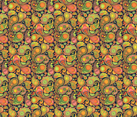 Paisley salad, nighttime  fabric by ceanirminger on Spoonflower - custom fabric