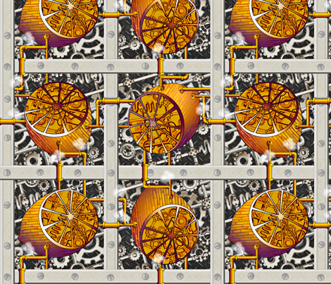Steampunk Lemons - How Lemonade is Made - Full Steam Ahead Big fabric by glimmericks on Spoonflower - custom fabric