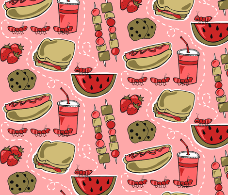 The Ants Hit the Picnic Jackpot fabric by dianef on Spoonflower - custom fabric