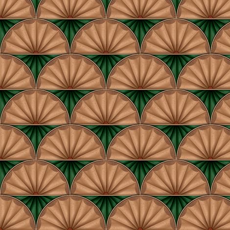 inlaid fan green fabric by glimmericks on Spoonflower - custom fabric