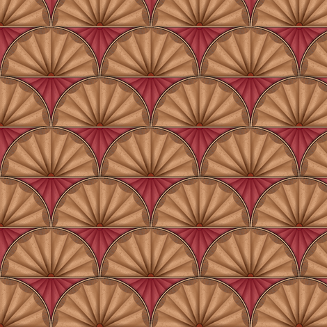 inlaid fan red fabric by glimmericks on Spoonflower - custom fabric