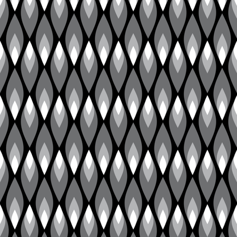 Small black and white flames fabric by petitspixels on Spoonflower - custom fabric