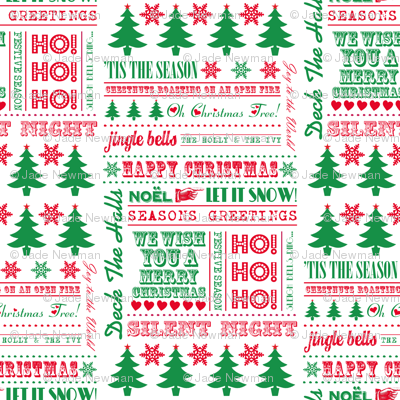Christmas Typography Festive Word Art Christmas Trees & Snowflakes