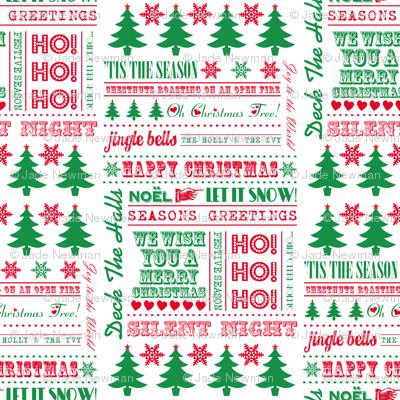 Christmas Typography Festive Word Art Christmas Trees & Snowflakes