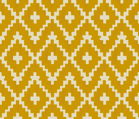 Southwest_diamond & chevron gold on taupe fabric by fable_design on Spoonflower - custom fabric
