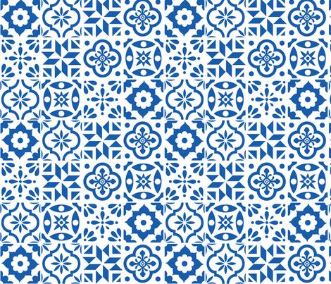 Spanish Tile Pattern Larger Size Fabric