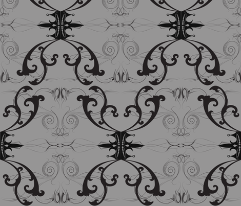 Damask Princess Grey fabric by garwooddesigns on Spoonflower - custom fabric