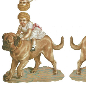 a girl is riding a dog