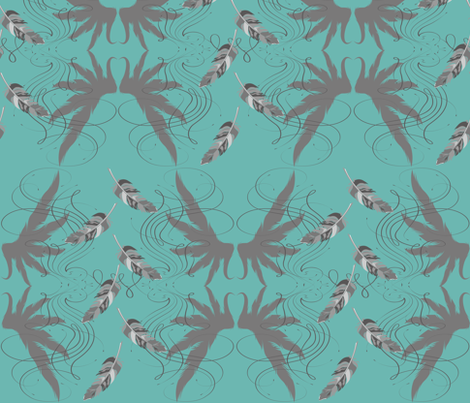 BohoFeather Blue fabric by garwooddesigns on Spoonflower - custom fabric