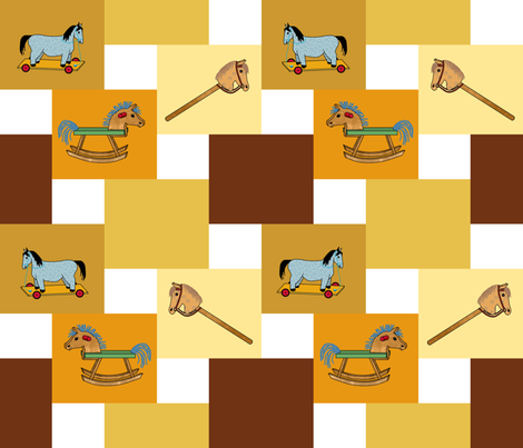 horses_double_steps_2x2_ fabric by khowardquilts on Spoonflower - custom fabric