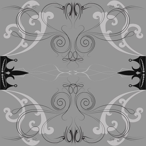 Damask Princess Grey on Grey