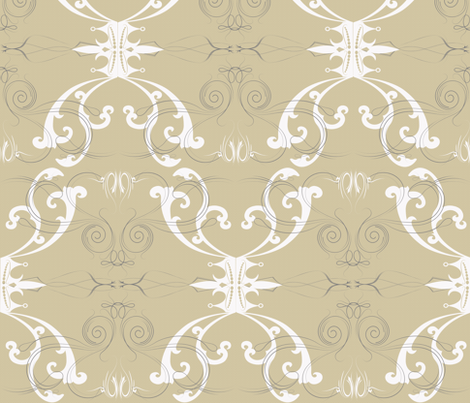 Damask Princess White & Grey