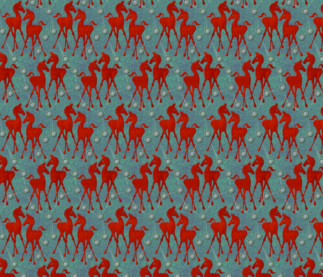 horses  red small fabric by glimmericks on Spoonflower - custom fabric