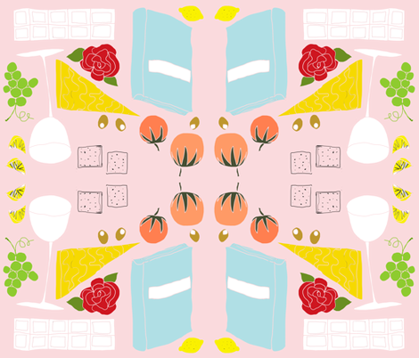picnic_delights_pink fabric by sealife on Spoonflower - custom fabric