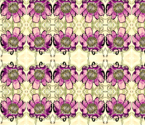 early_peony_drawing_large_brighter fabric by kumate on Spoonflower - custom fabric