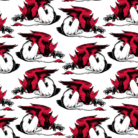 Red Griffin fabric by pond_ripple on Spoonflower - custom fabric
