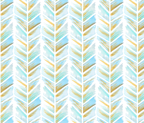 Watercolor Feather Chevron