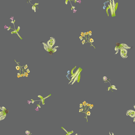 welsh-coast-flora_charcoal fabric by bee&lotus on Spoonflower - custom fabric