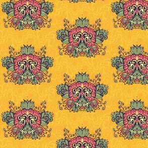 Bright pattern of abstract flowers on a yellow background