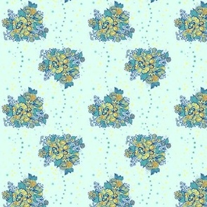 Pattern of abstract flowers in cool colors