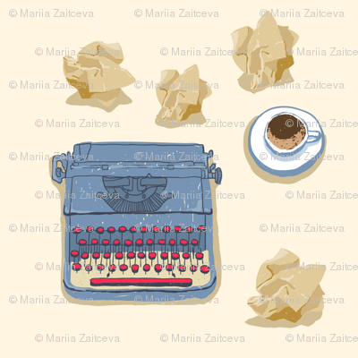 Typewriter with a cup of coffee and crumpled paper