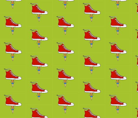 Cute man with red sneakers fabric by justmarie on Spoonflower - custom fabric